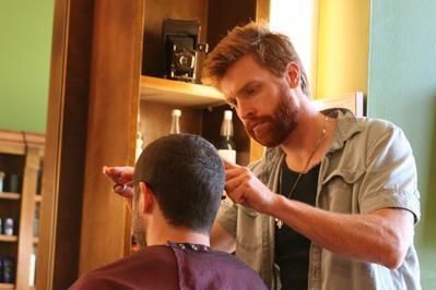 Intense barber stare.